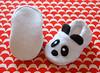 Panda bear baby booties (Jennifer Ladd handmade) Tags: boy baby white black girl shoes panda sewing craft fleece unisex slippers pandabear babybooties babygift cribshoes jenniferladd