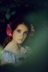 The Secret Garden (II) (LaRuephotography) Tags: pink flowers portrait woman flower green nature beauty fashion lady fairytale forest woods purple jaw structure greens bone freckles pure mythology persephone myth gentle mythical larue muth