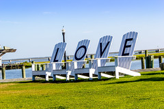 Chincoteague Love chairs 2015 (steveliscum) Tags: ocean sky seascape love docks landscape island virginia outdoor chincoteague