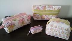 conjunto necessaires romanticas (PCPriscila) Tags: patchwork tecido necessaire