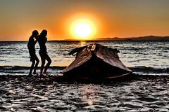 P1020838b - Sunset (JB Fotofan) Tags: sunset sea sun beach silhouette strand turkey children lumix boot boat colorful meer sonnenuntergang trkiye kinder panasonic trkei sonne deniz bunt zdere impressiv kreativmodus fz1000