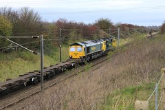 Weston (Diesel Dude.) Tags: uk england canon eos flickr railway dslr nottinghamshire weston midlands notts eastcoastmainline freightliner class66 intermodal ecml 0550 100d 66587 70008 class70 leedsflt powerhaul 4e22 felixstoweflt