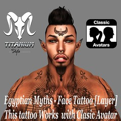 Egyptian Myths - Face Tattoo [Layer] (Lito Titanium) Tags: new boy man male men beach face tattoo big mesh body chest avatar smith bull event enzo now titanium gym macho exclusive poses hombre homme accesories aesthetic accesory tmw fitted poseball niramyth fitmesh godsofegypt egyptianmyths