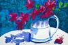 Flowers in white jar, by Mara - DSC01470 (Dona Minúcia) Tags: stilllife flower art watercolor painting paper table arte flor study jar mesa pintura aquarela jarro jarra naturezamorta