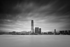 Hong Kong ([~Bryan~]) Tags: daytimelongexposure longexposure cloudy weather bw blackandwhite ndfilter monochrome icc kowloon hongkong city urbanlandscape cityscape architecture
