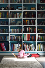 Reading in the Library (The Moon & Back) Tags: library child reading house children still color family quiet book study girl kid people portrait floor den focus happy