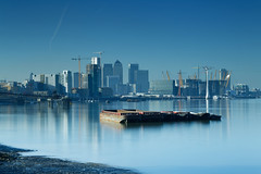 The money shot (JonoHub) Tags: thames thamesbarrier river london cityscape reflections 10stopnd bigstopper canon5dmk3 docklands canarywharf skyscapers city cityskyline cityscene blue