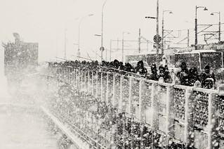Snowstorm Galata Bridge