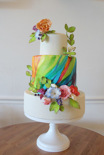 Hand Painted Rainbow Wedding Cake with Sugar Flowers