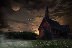 Country Church, Photoshop (Klaus Ficker --Landscape and Nature Photographer--) Tags: countrychurch sunset moon fullmoon photoshop fantasy photography klausficker canon mixpictures milfchurch