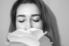 Peace v Anxiety (Anna Talley) Tags: girl woman portrait blackandwhite pratt prattinstitute flower peace bright happy white