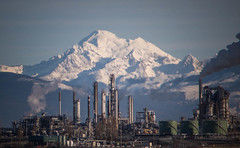 Man vs. Earth (MontanaRoots (aka Craig)) Tags: energy smoke volcano refinery climate oil gasoline moutains nature infrastructure mountain mountbaker
