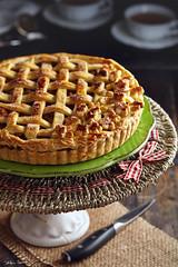 Apple Pie (lanaebiscotti) Tags: cake pie apple tarte afternoon flash indoor delicious fruit grey darkmoody green dessert pretty