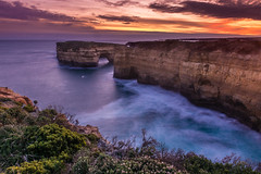 Gracious Tempest (inkasinclair) Tags: shorescape longexposure rocks view lookout southernland great ocean road loch ard gorge sunset sea seascape waves water rock ship wreck colour orange yellow plants sedimentary landscape nature beautiful nikon d7200 travel photography australia melbourne victoria outdoors dusk