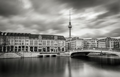 The TV Tower (Aaron James Rodgers) Tags: berlin longexposure silkywater leefilter wideangle tvtower germany bigstopper cityscape riverspree blackandwhite nikond750 clouds