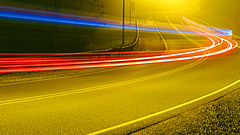 Light Trails (Wits End Photography) Tags: road street longexposure blue light red abstract black nature lines yellow night rural america outside drive illinois streetlight midwest pattern exterior darkness outdoor pavement country curves shapes line route american curve shape roadway blackness edwardsville scurve lighttrail challengegamewinner