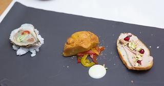 Pinchos: raw oyster, smoked tuna croquette, chicken liver pâté