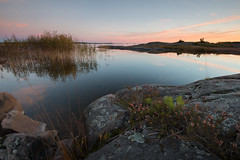Rock Heather (- David Olsson -) Tags: sunset oktober lake seascape reed nature landscape still nikon october rocks quiet sundown sweden outdoor heather relaxing calm cliffs karlstad serene fx grad vr vänern d800 värmland 1635 ljung 2015 stilla 1635mm lakescape gnd skutberget lugnt tinymoon leefilters davidolsson 06hard 1635vr litenmåne