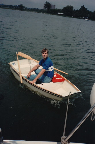 James being towed in the dingy