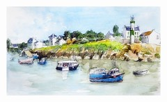 Doélan - Bretagne - France (guymoll) Tags: doélan bretagne france port bateaux harbour ships boats océan phare croquis sketch aquarelle watercolour watercolor