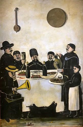 Niko Pirosmani. The feast of Tbilisian merchants accompanied by the gramophone