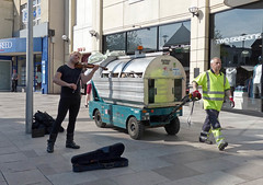 1st Movement (for solo violin) (Andy WXx2009) Tags: streetphotography fashion style street people men streetartists entertainers dumpsters bins refuse candid urban violin musician buskers city cardiff wales europe shopping store pavement workers walking outdoors