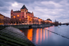 prague and vltava at sunrise (phlickrron) Tags: prague vltava moldau sunrise outdoors city cityscape river longexposure clouds reflection light