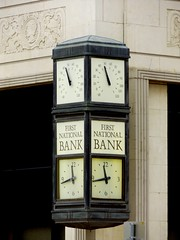 The First National Bank and Trust in Chickasha, Oklahoma (kevinellison62) Tags: artdeco building oldbuilding firstnationalbankandtrust architecture chickasha oklahoma clocks clock time bank