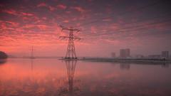 Almere city .... (Alex Verweij) Tags: almere power hoogspanning hoogspanningsmast weerwater sun sunset zonsondergang alexverweij canon 5d