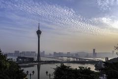 Macau Tower at Dusk (- Jan van Dijk) Tags: macau mo macao macautower dusk hazy skytower bungeejumping tower haze sé saivan namvanlake