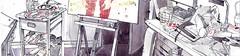 Studio With Portrait of Dean Carne (larosecarmine) Tags: panorama artists studio rossendale caroline johnson fine artisturban sketcher pen ink watercolour painting documentary art