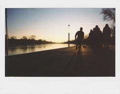 Winter Run (chipsmitmayo) Tags: fuji instax 210 polaroid instant film sofortbild weitwinkel wide angle münster aasee westfalen winter ice eis lake naherholungsgebiet natur spaziergang walk kälte cold abend dusk sonnenuntergang abendstimmung gegenlicht