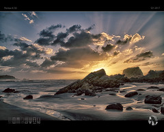 Raise Me Up (tomraven) Tags: beach sunset sky clouds sun water rocks tomraven iconic westcoast theme aravenimage newlogo tauragabay wildocean q12017 pentax k50