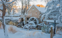 SNOWY MORNING AT THE MILL (jlucierphoto) Tags: snow winter outdoor plymouth massachusetts gristmill mill wheel water lovelyflickr