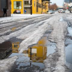 ice ruts and puddles (Ben McLeod) Tags: centraleastsideindustrialdistrict oregon portland winterstorm snow street