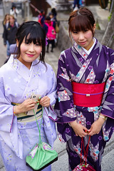 On their way to Kiyomizu-dera (Eric Flexyourhead) Tags: higashiyama higashiyamaku 東山区 kyoto 京都市 kansai 関西地方 japan 日本 city urban street streetphotography portrait candid girl girls woman women japanese cute kawaii かわいい smile smiling happy kimono 着物 colourful vibrant vivid group shallowdepthoffield sonyalphaa7 zeisssonnartfe55mmf18za zeiss 55mmf18