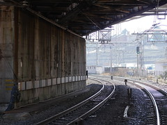 The Path Ahead (CentipedeCarpet) Tags: panasonic gx8 micro four thirds tokyo japan arakawa 日本 荒川区 日暮里 nippori train tracks rail lines city urban urbex 線路 光 light shadows
