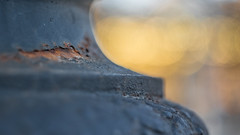 (C-47) Tags: steel metal light bokeh rust macromonday peeled element themed dof yellow itsapeelingtome closeup paint peel peeling timeeffect colors bright warm tone ac chromatic aberration
