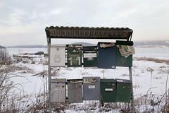 (Beathe) Tags: oslofjord sandebukta ice fishing winter sun holm img1178 postkassestativ mailboxes postkasser