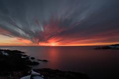 ...fire on the horizon... (jamesmerecki) Tags: fire horizon colors sunrise dawn predawn le longexposure clouds perkinscove ogunquit marginalway me maine coastline coast atlantic ocean