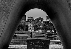 Atomic bomb dome (Gifuguy) Tags: garden trees memorial hiroshima atomicbomb people blackwhite japan places water dome peacepark