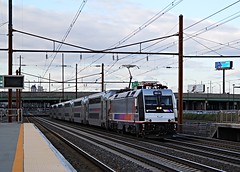 Arriving Newark International (Laurence's Pictures) Tags: new electric train liberty airport amtrak transportation transit jersey commuter motor passenger newark nec acela