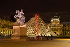 Midnight in Louvre Museum, Paris (adriatic99) Tags: city longexposure travel summer vacation urban paris france architecture night louis europe pyramid louvre culture tranquility historic midnight attractive xvi