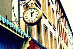 One O'Clock (Jackal1) Tags: street clock buildings hands mechanical time timepiece roadside romannumerals ticktock