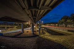 Traffic 2.0 (Mabloo) Tags: longexposure bridge traffic fisheye bremen brücke verkehr lichter langzeitbelichtung lichtspure