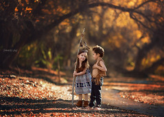 One Sweet Moment (Portraits by Suzy) Tags: blue autumn trees light sunset summer baby brown color reflection cute fall nature water girl childhood by kids creek portraits canon vintage model toddler couple warm child natural feathers suzy mead boho 6d 135l