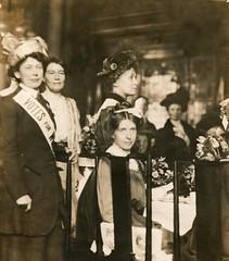 Suffragette leaders at a Women's Social & Political Union (WSPU) reception, c.1908-1912.