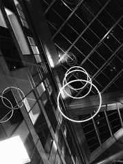 An eclectic mix of shapes and lines (KelJB) Tags: southmeadhospital architect bristol inside lobby architecture hospital interior lines circles shapes building blackandwhite blackwhite