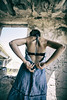 back (vetlife2005) Tags: clothes blue dress bluedress woman ruins back changingclothes bra brassiere soutien femme decay