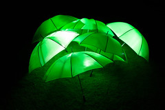 Green umbrellas/bumbershoots/brollies/gamps/parapluie (Neil M Cross) Tags: